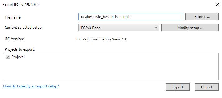 Update exporteren naar ifc 9